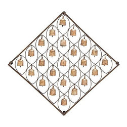 UMA - Mission Bells Southwest Wall Decor - A multitude of mission style bells in a bronze finish are presented in a diamond shaped wall decor