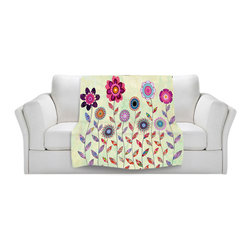DiaNoche Designs - Throw Blanket Fleece - Sascalia Purple Fowers - Original Artwork printed to an ultra soft fleece Blanket for a unique look and feel of your living room couch or bedroom space.  DiaNoche Designs uses images from artists all over the world to create Illuminated art, Canvas Art, Sheets, Pillows, Duvets, Blankets and many other items that you can print to.  Every purchase supports an artist!