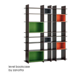 "Level Bookcase By Arik Levy For Zanotta - This bookcase is downright Mondrian, thus it gets a big fat checkmark in the ""pro"" column. It has ample storage for everything, yet it's so stunning empty I might have a hard time filling it up! Extra Bonus: You may keep it upright or turn it on its side for a shorter longer iteration."