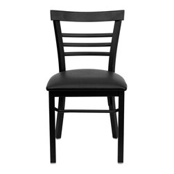 """Flash Furniture - HERCULES Series Black Ladder Back Metal Restaurant Chair - Black Vinyl Seat - Provide your customers with the ultimate dining experience by offering great food, service and attractive furnishings. This heavy duty commercial metal chair is ideal for Restaurants, Hotels, Bars, Lounges, and in the Home. Whether you are setting up a new facility or in need of a upgrade this attractive chair will complement any environment. This metal chair is lightweight and will make it easy to move around. For added comfort this chair is comfortably padded in vinyl upholstery. This easy to clean chair will complement any environment to fill the void in your decor.; Heavy Duty Metal Restaurant Chair; Ladder Style Back; Black Vinyl Upholstered Seat; 2.5"""" Thick 1.4 Density Foam Padded Seat; 18 Gauge Steel Frame; Welded Joint Assembly; Curved Support Bar; Black Powder Coated Frame Finish; Plastic Floor Glides; Designed for Commercial Use; Suitable for Home Use; Assembly Required: Yes; Country of Origin: China; Warranty: 2 Years; Weight: 24 lbs.; Dimensions: 31.75""""H x 17""""W x 19.5""""D"""