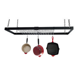 Advantage Components - 46 in. Rectangular Hanging Pot Rack - Three pans not included. Includes twelve pot hooks and four mounting screws. Four chains and product instruction guide. Fully adjustable length from 30 in. to 49 in.. Each rack with shelf. Adjustable arms and able to adjust the length of the entire rack. Collapsible design for efficient shipping and storage. Warranty: Three years limited manufacturing. Made from solid steel. Made in USA. Assembly required. Black satin powder coat finish. Easy assembly utilizing just two nuts and bolts. Steel grid: 22 in. L x 14 in. W x 0.19 in. H. Pot rack: 46 in. L x 15.38 in. W x 13 in. H (20 lbs.)Best value on the internet- It's like buying 2 and 3 pot racks in one. Super strong, adjustable size. Inspired by the patent pending rivet and adjust system, Advantage Components specializes in steel based furnishings which blend art and science, beauty and innovation, new to the steel home furnishings space. Advantage Components pot racks solve the will it fit question for your kitchen. Designed to grow with your ever changing storage needs. There's no need to measure or worry about ceiling joice location.