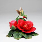 CG - 4 Inch Red Hummingbird Statue Flying Above Red Hibiscus Candle Holder - This gorgeous 4 Inch Red Hummingbird Statue Flying Above Red Hibiscus Candle Holder has the finest details and highest quality you will find anywhere! 4 Inch Red Hummingbird Statue Flying Above Red Hibiscus Candle Holder is truly remarkable.