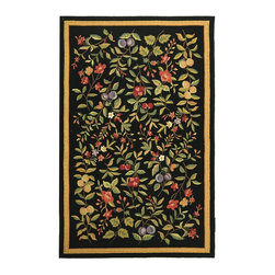 Safavieh - Country & Floral Chelsea 6'x9' Rectangle Black Area Rug - The Chelsea area rug Collection offers an affordable assortment of Country & Floral stylings. Chelsea features a blend of natural Black color. Hand Hooked of Wool the Chelsea Collection is an intriguing compliment to any decor.