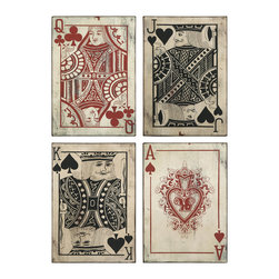 Imax Corp - Leonato Playing Card Wall Decor - Set of 4 - Oversized playing cards add a masculine, whimsical touch to any room.
