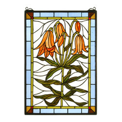 """Meyda - 16""""W X 24""""H Trumpet Lily Stained Glass Window - Gracefully trumpet lilies with bronzed green leavesbow their dark orange heads against a clear blue sky.this meyda tiffany original window is handcraftedutilizing the copperfoil construction process and 219pieces of stained art glass encased in a solid brassframe. Mounting bracket and jack chain included."""
