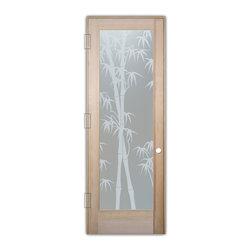 "Sans Soucie Art Glass (door frame material T.M. Cobb) - Interior Glass Door Sans Soucie Art Glass Bamboo Shoots Private - Sans Soucie Art Glass Interior Door with Sandblast Etched Glass Design. GET THE PRIVACY YOU NEED WITHOUT BLOCKING LIGHT, thru beautiful works of etched glass art by Sans Soucie!  THIS GLASS PROVIDES 100% OBSCURITY.  (Photo is View from OUTside the room.)  Door material will be unfinished, ready for paint or stain.  Satin Nickel Hinges. Available in other wood species, hinge finishes and sizes!  As book door or prehung, or even glass only!  1/8"" thick Tempered Safety Glass.  Cleaning is the same as regular clear glass. Use glass cleaner and a soft cloth."