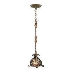 Livex - Livex Pomplano Mini Pendant 8840-64 - Finish: Palacial Bronze with Gilded Accents