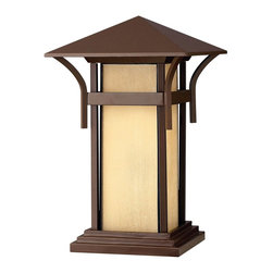Hinkley Lighting - Hinkley Lighting 2576AR Harbor Transitional Outdoor Post Lantern Light - Harbor has an updated nautical feel, with a style inspired by the clean, strong lines of a welcoming lighthouse. The cast aluminum and brass construction is accented by bold stripes against the seedy glass.