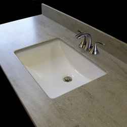 """Corian Vanity Tops - 49"""" Corian Sagebrush Vanity Top, 1"""" Edge Order THIS and other beautiful corian vanity tops on our website! (Faucet and pop-up drain not included)"""