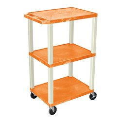 Luxor - H Wilson Presentation Cart - WT42ORE - H Wilson's WT Tuffy multi-purpose carts are made of high density polyethylene structural foam injection molded plastic shelves and legs that will not chip, warp, crack, rust or peel. Shelves and legs can be recycled.