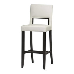 "Linon - Linon Vega 30 Inch High White Bar Stool - Linon - Bar Stools - 14054WHT01KDU - This modern contemporary 30"" counter stool has clean block-edged lines and a stylish metro appeal. Distinguished by its large panel back squared seat and taper-flared legs the Vega is equally at ease in a busy kitchen or any more formal setting. An espresso wood and pure white PVC vinyl upholstery finish makes the Vega White Counter Stool ideal for any area with dark decor accents."