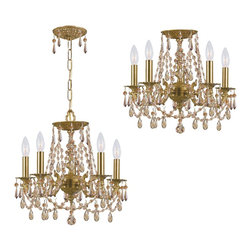 Crystorama - Crystal Five Light Up Lighting Ceiling Fixture - In what is sure to be a timeless trend, designers and style-conscious homeowners are using mini-chandeliers in every room of the house, squeezing glamour and light into even the smallest places.