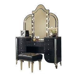 Hollywood Swank Vanity with Mirror and Bench