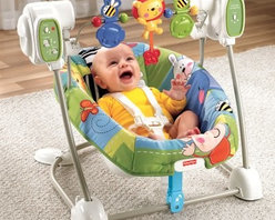 Fisher-Price Discover n Grow Swing n Seat - Don't worry after a relaxing ride in the Fisher-Price Discover n Grow Swing n Seat you might get your chance at a nap too. This convenient swing features a smaller footprint than standard swings but offers all the same amenities. A deep padded seat swings at five different speeds while your child enjoys music an animal-themed toy bar and gentle soothing vibrations. The five-point harness clips easily in place and the padded seat cover is machine-washable and dryer safe. About Fisher-Price As the most trusted name in quality toys Fisher-Price has been helping to make childhood special for generations of kids. While they're still loved for their classics their employees' talent energy and ideas have helped them keep pace with the interests and needs of today's families. Now they add innovative learning toys toys based on popular preschool characters award-winning baby gear and numerous licensed children's products to the list of Fisher-Price favorites.