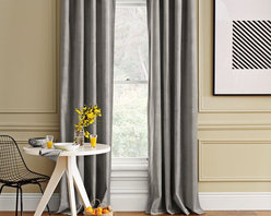 Velvet Window Panel, Dove Gray - Gray velvet is super classy. It adds some sheen and a bit of texture as a window treatment.