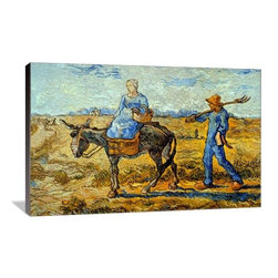 "Artsy Canvas - Morning With A Farmer And His Wife 30"" X 20"" Gallery Wrapped Canvas Wall Art - Morning with farmer and pitchfork; his wife riding a donkey and carrying a basket - Vincent van Gogh (1853 - 1890) was a Dutch post-Impressionist painter whose work, notable for its rough beauty, emotional honesty, and bold color, had a far-reaching influence on 20th-century art."