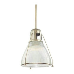 Hudson Valley - Hudson Valley 7315-SN 1 Light PendantHaverhill Collection - Embossed with sleek vertical ribbing, Haverhill's clear glass refracts brilliant light across its prismatic shade.  The collection's vintage marine details bring the lively spirit of the open sea to inland and coastal estates alike.  Slender spider arms s