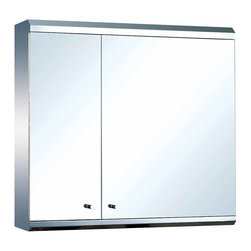 The Renovators Supply - Medicine Cabinets Bright Stainless Steel Double Medicine Cabinet | 13522 - Mirrored Medicine Cabinet. Maximize storage in style, this exquisite medicine cabinet is 100% stainless steel inside and out. The perfect investment for any bathroom. Measures: 22 inch H x 23 5/8 inch W x 5 1/4 inch projection.