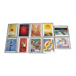 Pre-owned 1969 Framed Artwork  - Set of 10 - Don't spend months (or even years) compiling all of the pieces for the perfect gallery wall, when we've got a cool set of 10 pieces right here, right now!  Art is communication in its highest form and used universally to express man's ambitions, ideals, attitudes and beliefs; the International Telephone and Telegraph Corporation ITT turned to the fine arts when, in early in 1969, it launched a global advertising campaign, which continues today.     This set of 10 illustrations for the advertising campaign are paintings, collages, tapestries, sculptures, and stain-glass. Each is an original, specially commissioned in this portfolio for the ITT collector series. They are in excellent condition.