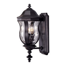 Karyl Pierce Paxton - Karyl Pierce Paxton KP-5-304-BK Monticello Transitional Outdoor Wall Sconce - A celebrated Savoy House family finished in Walnut Patina with Clear Watered glass.