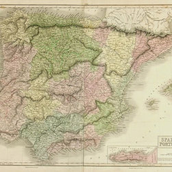 Consignment Original Antique Map of Spain & Portugal, 1851 - Original antique engraving of the Iberian Peninsula with Spain, Portugal, Gibraltar and Andorra by mapmaker Black in 1851. Over 160 years old. Shows regions, provinces, rivers, mountains, transport and towns. Original hand coloring.