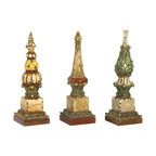 Sterling Industries - Sterling Industries Sphere Tip Finials X-8045-39 - This set of three Sterling Industries finials are a delightful addition to your home decor, whether in a foyer or on a bookshelf. The three sphere tip finials are each done in a different pattern, pulled together only by their coloring and distressed accenting.