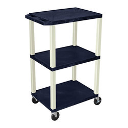Luxor - H Wilson Presentation Cart - WT42ZE - H Wilson's WT Tuffy multi-purpose carts are made of high density polyethylene structural foam injection molded plastic shelves and legs that will not chip, warp, crack, rust or peel. Shelves and legs can be recycled.