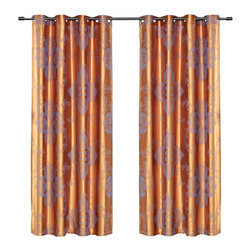 Dolce Mela - Dolce Mela DMC467 Window Treatments Damask Drapes Freya Curtain Panels - Bring the utmost pleasing accent to your window dressing with these luxury linen drapes featuring light slate-blue jacquard damask patterns on a shimmering golden background to create a trendy and elegant decor.