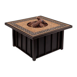 Aidan Outdoor Gas Fire Pit with Tile Top - Perfect for pairing with your outdoor deep seating collection, the Aidan Outdoor Gas Fire Pit with Tile Top makes a great centerpiece for enjoying a night outside. The four-sided fire pit gives you ample room for gathering with friends and family, and flames will flicker above the top, allowing you to even roast hot dogs or cook marshmallows when gathered together to enjoy the heat. This fine fire pit has a contemporary style that you and your guests will love.