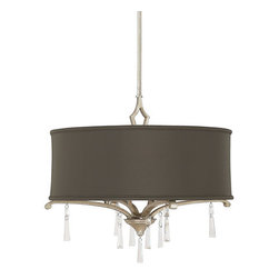 Capital Lighting - Capital Lighting 4074-534-CR Elan 4 Light Foyer Pendant - Capital Lighting 4074-534-CR Elan 4 Light Foyer PendantBoth modern and traditional, this stylish transitional pendant features classic curled arm motifs and crystal accents with clean modern outlines enveloped by a simple large fabric shade. This cutting edge fixture will add appeal to any d�cor.Capital Lighting 4074-534-CR Features: