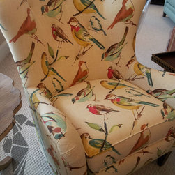 Watercolor Bird Wingback Chair - Alexia Thomas; Featured at Garden City Furniture