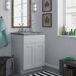 None - Ameriwood White 24-inch Shaker Style Bath Vanity Cabinet - Finished in Ameriwood's White Stipple finish,the 24-inch wide White Shaker-Style Bathroom Vanity gives your bathroom a fresh,inviting feel,while offering lots of room for your bath essentials.