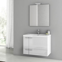 ACF by Nameeks - ACF by Nameeks ACF ANS02-GW New Space 31-in. Single Bathroom Vanity Set - Glossy - Shop for Bathroom from Hayneedle.com! Breathe new life into your bath set with the ACF by Nameeks ACF ANS02-GW New Space 31-in. Single Bathroom Vanity Set - Glossy White and its inspired modern style. This alluring four-piece set is the whole package with the vanity sink mirror and vanity light all included. It floats elegantly above your bathroom floor thanks to a sturdy wall-mounted design. You'll love how the chrome hardware plays off the Glossy White finish of the cabinet. You can round out this set as you please with your choice of faucet.Component Dimensions:Vanity dimensions: 31.3W x 17.7D x 21.8H in.Mirror dimensions: 28.3W x 27.6H in.Fitted rectangular sink dimensions: 23.6W x 17.7D in.About NameeksFounded with the simple belief that the bath is the defining room of a household Nameeks strives to design a bath that shines with unique and creative qualities. Distributing only the finest European bathroom fixtures Nameeks is a leading designer developer and marketer of innovative home products. In cooperation with top European manufacturers their choice of designs has become extremely diversified. Their experience in the plumbing industry spans 30 years and is now distributing their products throughout the world today. Dedicated to providing new trends and innovative bathroom products they offer their customers with long-term value in every product they purchase. In search of excellence Nameeks will always be interested in two things: the quality of each product and the service provided to each customer.
