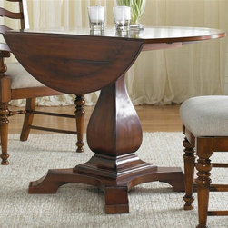 Hooker Furniture - Waverly Place Round Pedestal Table - Chairs not included. Two 10 in. drop leaves. Can be seat up to four people. Made from hardwood solids with cherry veneers. Minimum: 42 in. L x 22 in. W x 30 in. H. Maximum: 42 in. Dia. x 30 in. H