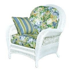 Spice Island Wicker - Wicker Armchair with Cushion (Nara Marsala Spun - All Weather) - Fabric: Nara Marsala Spun (All Weather)Classic with a Southern inspired charm, this woven wicker arm chair will be a delightful addition to any enclosed porch or sun room decor. Finished in white, the traditional chair is paired with plush seat and back cushions in your choice of different fabric options. Includes cushion. 30 lbs.