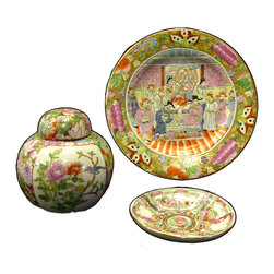 Golden Lotus - Chinese 3pcs Canton Color Porcelain Decor Plate Jar - This is a decorative set of 3 porcelain items with oriental Canton color graphic handpainted on the surface.