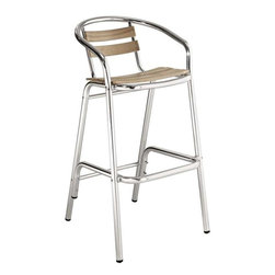 Modway - Perch Bar Stool in Natural - Define your homestead with this charming Bar Stool full of vibrancy. Sip sweet solace as you sit admirably amidst your outdoor pub area. Complete with willow screen slats and a matte aluminum finish, let Perch's vantage point take you to a protected place of prosper.