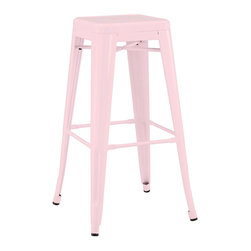 Design Lab MN - Amalfi Stackable Glossy Pastel Pink Steel Barstool Set of 4 - The Dreux steel stackable barstool is a fantastic designed barstool to add to any restaurant, bistro or coffee house. This barstool is produced in rolled steel which can withstand any high traffic area. It also can be stacked to save space if needed. Produced by Design Lab MN, this product is manufacturer to highest standards in the furniture industry.