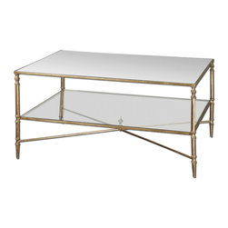 Uttermost - Uttermost Henzler 38x28 Rectangular Coffee Table w/ Mirrored Glass - Gold Leaf Finish with Heavy Antiquing On Iron Frame with Iron Cross Stretchers. Top is Reinforced Mirror and Gallery Shelf is Clear Tempered Glass.