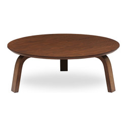 Bryght - Nes Cocoa Wood Round Coffee Table - A graceful bentwood design made from molded plywood, expertly veneered in hardwood. The Nes round coffee table perfectly brings together simplistic elegance with its smooth lines and a strong and sturdy mid century modern design.
