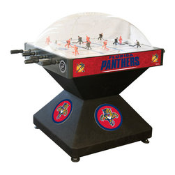 Holland Bar Stool - Holland Bar Stool DHFlaPan Florida Panthers Dome Hockey - DHFlaPan Florida Panthers Dome Hockey belongs to NHL Collection by Holland Bar Stool Holland Bar Stool's Officially Licensed Dome Hockey game provides hours of entertainment for the hockey fan of any level. Game is badged with your favorite team's logo on the base, sides, and at center ice. Our high-performance rod assembly underneath the surface transfers your twisting motion with a 2:1 ratio onto your players for the most responsive game play, and the clutch system prevents damage to the players when battling the opposition. TPR octagonal, sure-grip handles are attached to high-tensile steel rods that are ground and plated, maneuvering ABS players who are steel re-enforced to provide you with a long lasting game. Side mounted scoring unit provides a variety of game modes, Base includes adjustable levelers. When completing your game room, show your team pride with a Dome Hockey table from the Holland Bar Stool Company. Dome Hockey (1)