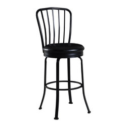 """Linon Home Decor - Linon Home Decor Windsor Back Bar Stool X-U10LTM475430 - Classic in design and style, the Windsor Back Bar Stool is a timeless addition to a home bar, counter or high top table. The decorative Windsor back adds a touch of symmetry to the stool, while the wide round swivel seat adds comfort. Finished in a dark black, the seat has a plush, easy to maintain, black PVC upholstery. Constructed of metal, the stool is sturdy and durable for long lasting use. 30"""" Seat Height. 275 pound weight limit."""