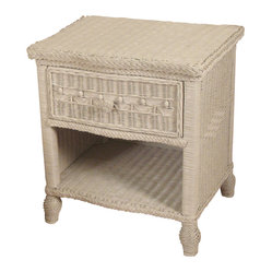 Victorian Wicker One-Drawer Nightstand