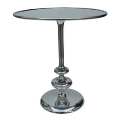 Four Hands - Marlow Matchstick Pedestal Table - A sophisticated side table is the perfect place to balance a few treasured items — like a framed photo, scented candle and cocktail! The polished aluminum of this classic pedestal brings a touch of vintage glamour to any room, and the shape and size are perfect for setting next to a side chair or sofa.
