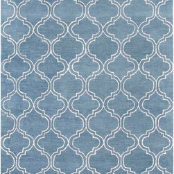 Jaipurrugs - Durable Wool Blue/Ivory Hampton Rectangle Rug Border Color Aegean Blue 5' x 8' - Hand-Tufted Durable Wool/ Art Silk Blue/Ivory Hampton Rectangle Rug Border Color Aegean Blue 5' x 8'.