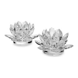 Godinger - Godinger Dublin Crystal Lotus 3-Inch Candle Holders (Set of 2) - Godinger Dublin Crystal Lotus Candle Holders are crafted in fine crystal to bring dramatic styling to any home. Brightens with the soft glow of taper candles or votives (not included) for a beautiful, unusual shine.