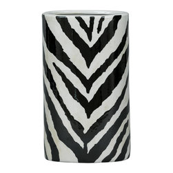 "Port 68 - Kenya Black Oval Vase - Fresh but familiar, the oval Kenya base nods to animal instinct with a black-and-white zebra pattern. This contemporary vase mimics on-trend chevron for mod neutral style. 8""W x 5.5""D x 14""H; Porcelain."