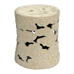 Used Cloud Ceramic Garden Stool - Large - A cloud ceramic garden stool, hand glazed and fired in a wood burning kiln giving each piece an individual look and making it a work of art. This ceramic garden stool makes for a beautiful accent table or extra seating for indoors or out!     We have two available. If you would like to purchase the pair, please contact support@chairish.com