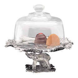 Arthur - Elephant Footed Plate w/ Glass Dome - The perfect cover: Actually, the last thing you want to do is hide your cheese, cupcakes and candy. This glass dome and footed plate showcase your artful edibles beautifully, all while protecting them from the effects of dust and air.