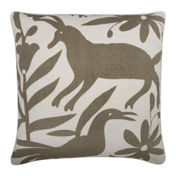"""Thomas Paul - Otomi Pillow - Features: -Material: Linen cotton blend. -Hand screened. -Down feather insert. -Overall dimensions: 22"""" W x 22"""" D."""
